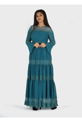 rapellin Dantel Detaylı Şifon Elbise 1