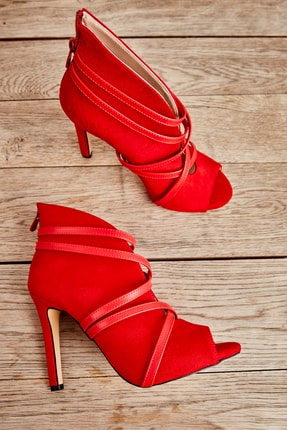 Bambi Kırmızı Süet Kadın Abiye Ayakkabı L0501901665 0