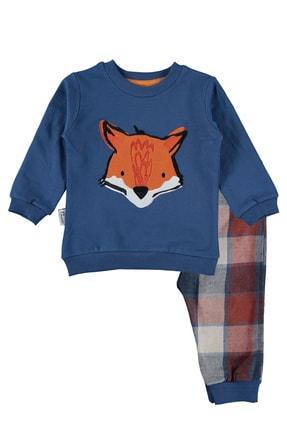 hepbaby Tilki Nakışlı, Ekoseli Bebek Pijama Takımı – 9-18 Ay 0