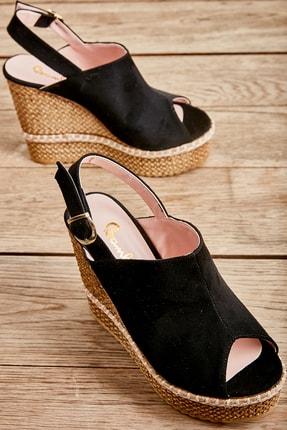 Bambi Siyah Süet Kadın Dolgu Topuklu Ayakkabı L0501803365 0