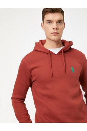 Erkek Kapüsonlu Islemeli Uzun Kollu Sweatshirt resmi