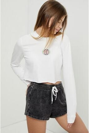 Vans Kadın Beyaz Ovaloid Long Sleeve Crop Tişört 1