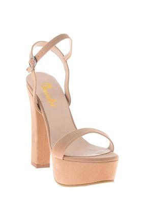 Bambi Bej Süet Kadın Abiye Ayakkabı L0527052072 2