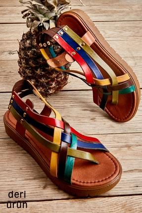Bambi Hakiki Deri Çok Renkli Kadın Sandalet L0529030503 0