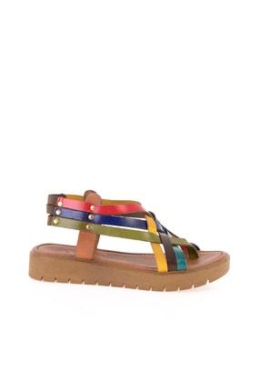 Bambi Hakiki Deri Çok Renkli Kadın Sandalet L0529030503 1