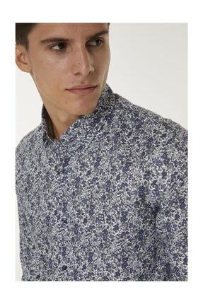 Avva Erkek Mor Baskılı Alttan Britli Yaka Slim Fit Gömlek A92y2052 4