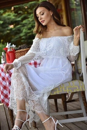 Modakapimda Beyaz Güpür Kayık Yaka Elbise 2