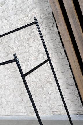 Morpanya Konfeksiyon Askısı Metal Elbise Askılığı Çift Bölmeli Ayaklı Askılık Siyah 2