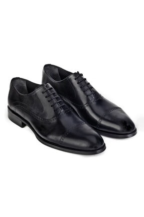 Cabani Oxford Bağcıklı Lazer Detaylı Neolit Enjeksiyonlu Erkek Ayakkabı Siyah Antik Deri 4
