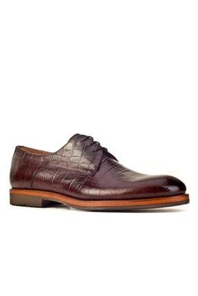 Cabani Hafif Light Taban Bağcıklı Erkek Ayakkabı Kahve Croco Deri 0