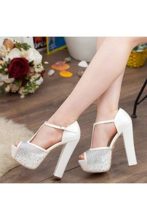 Adım Adım Sedef Platform Topuk Dolgu Taban Abiye Gelin Kadın Ayakkabı • A192ysml0024 4