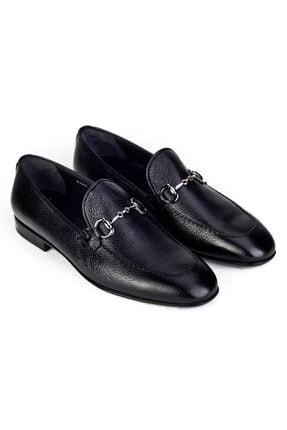 Cabani Toka Aksesuarlı Geyik Derisi Kaymaz Taban Loafer - Erkek Ayakkabı Siyah 4