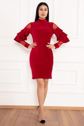 PULLIMM Hacto 3970 Kolları Fırfırlı Fitilli Kadife Elbise 1