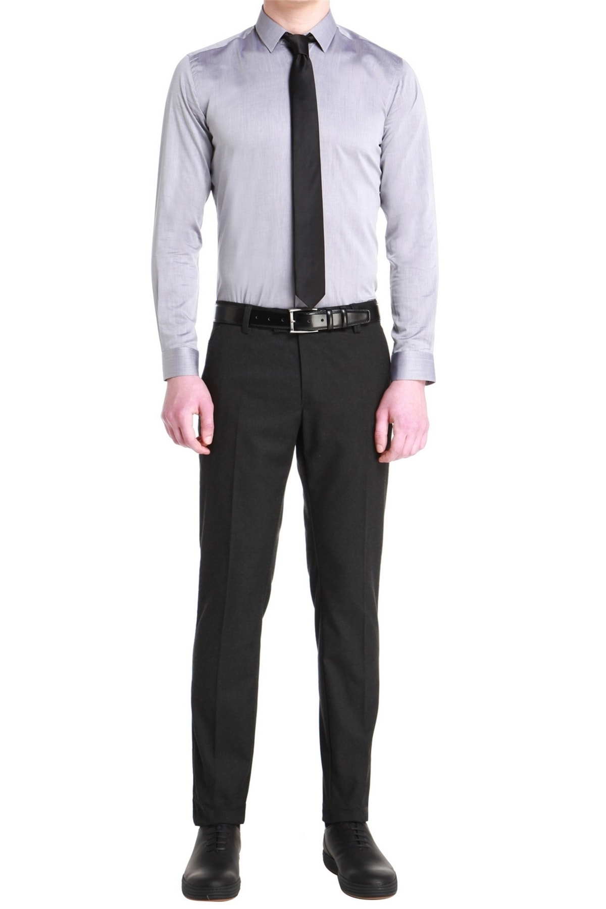 P 1053 Slim Fit Antrasit Kanvas Pantolon