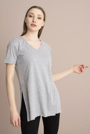 Tena Moda Kadın Gri V Yaka Yanı Yırtmaçlı Tunik 1