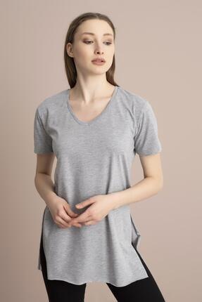 Tena Moda Kadın Gri V Yaka Yanı Yırtmaçlı Tunik 4
