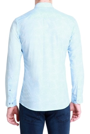 Efor G 1384 Slim Fit Mavi-beyaz Spor Gömlek 2