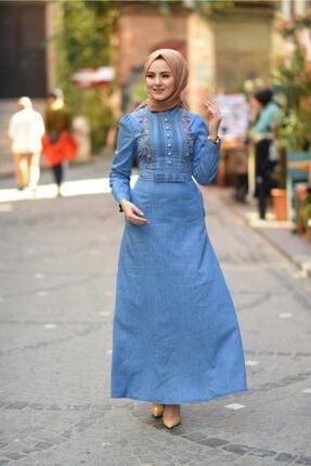 Modamihram Fiyonk Detaylı Nakışlı Tesettür Elbise Açık Kot 2