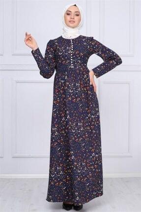 Modamihram Düğme Detaylı Tesettür Elbise Lacivert 3