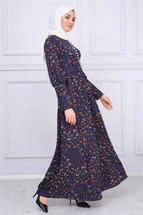 Modamihram Düğme Detaylı Tesettür Elbise Lacivert 4
