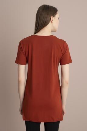 Tena Moda Kadın Kiremit V Yaka Yanı Yırtmaçlı Tunik 3