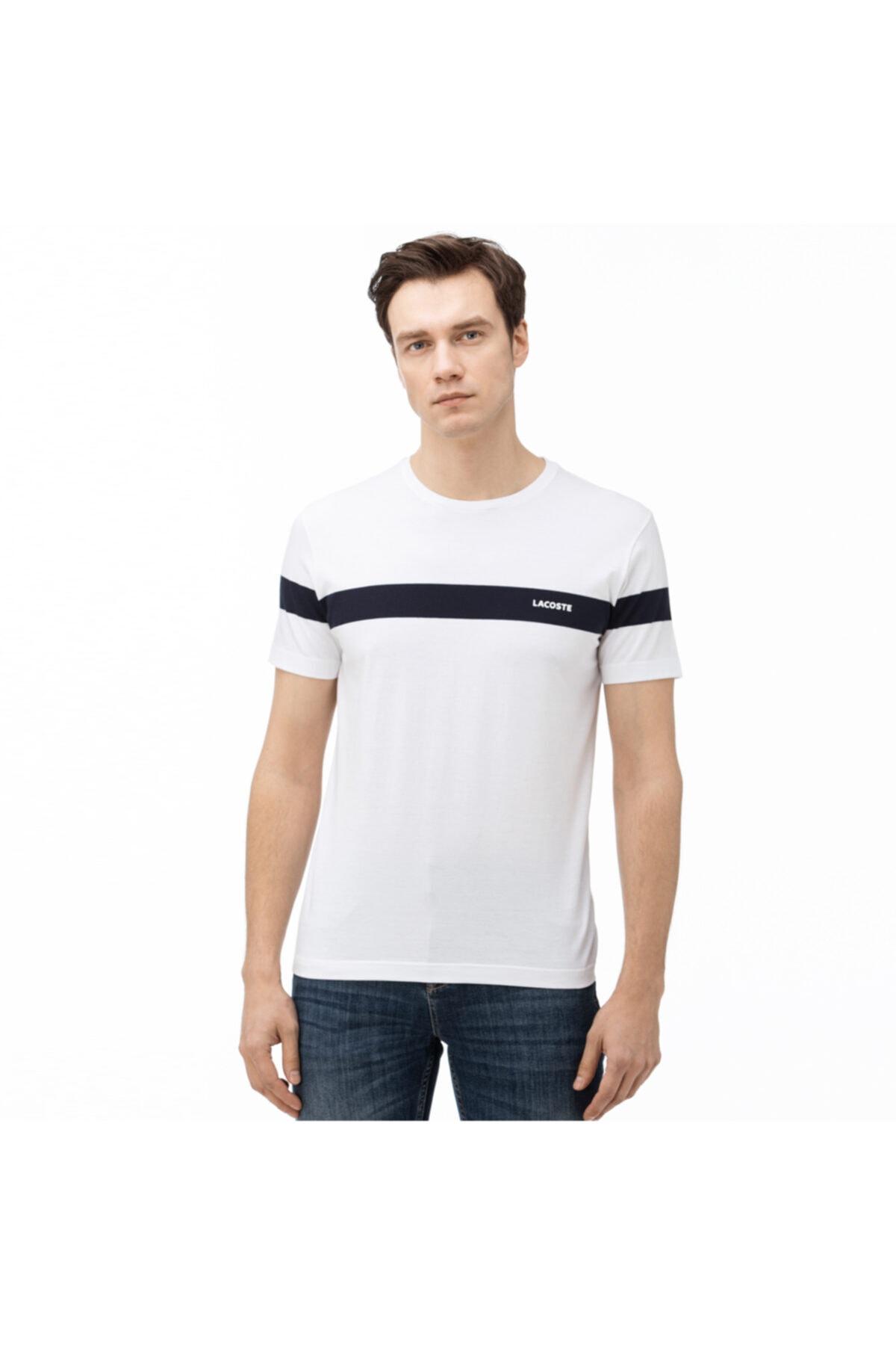 Erkek Bisiklet Yaka Çizgili Beyaz T-Shirt TH0054
