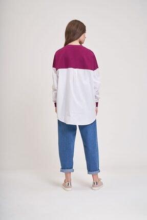 Mizalle Youth Poplin Gömlek Detaylı Sweatshirt (Mürdüm) 3