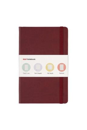 Matt Notebook 13x21 Lastikli Defter Noktalı Bordo 0