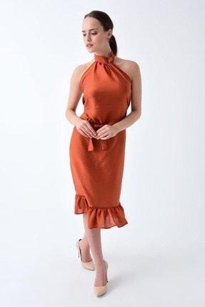 Cotton Mood 92210148 Bodrum Boyun Bağlamalı Beli Kemerli Kolsuz Elbise Kıremıt 1