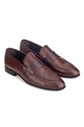Cabani Örgülü Derili Neolit Enjeksiyon Tabanlı Loafer Erkek Ayakkabı Kahve Deri 4