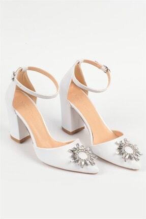 Nizar Deniz Maureen Beyaz Mat Sivri 8cm Kristal Taşlı Kalın Topuklu Kadın Gelin Ayakkabısı 2