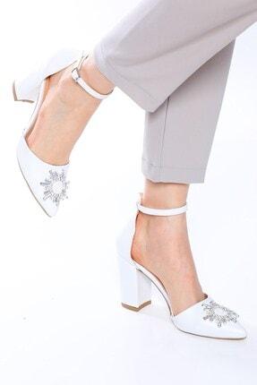 Nizar Deniz Maureen Beyaz Mat Sivri 8cm Kristal Taşlı Kalın Topuklu Kadın Gelin Ayakkabısı 3