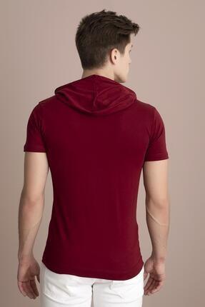 Tena Moda Erkek Bordo Kapüşonlu Düz Tişört 3
