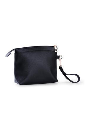 Deri Company Kadın Basic Clutch Çanta Düz Desenli Logolu Siyah (4010s) 214009 3