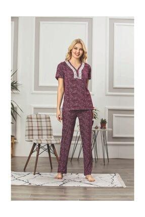 Lila Viskon Pijama Takımı 3