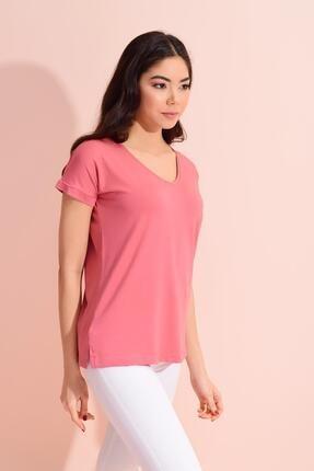Tena Moda Kadın Gül V Yaka Geniş Salaş Tişört 2