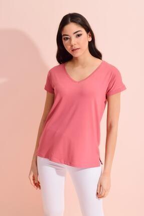Tena Moda Kadın Gül V Yaka Geniş Salaş Tişört 3