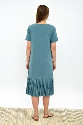 Cotton Mood 9303044 Süprem Eteği Pliseli Kısa Kol Elbise Cagla Yesıl 2