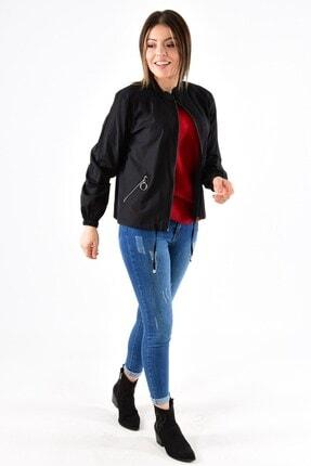 ModaPlaza Kadın Fermuarlı Altı Bağcıklı Siyah Spor Ceket 7210 3