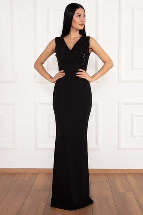 PULLIMM Ophelia 13213 Krep V Yaka Uzun Elbise 4