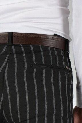 Terapi Men Erkek Çizgi Desenli Slim Fit Keten Pantolon 20k-2200235 Siyah 2