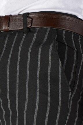 Terapi Men Erkek Çizgi Desenli Slim Fit Keten Pantolon 20k-2200235 Siyah 3