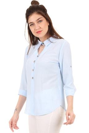 Bigdart 3658 Gömlek Yaka Tahta Düğme Bluz 2