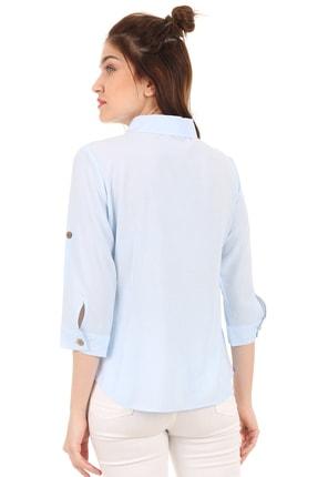 Bigdart 3658 Gömlek Yaka Tahta Düğme Bluz 3