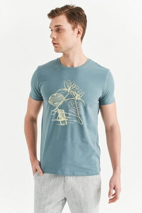 Avva Erkek Nil Yeşili Bisiklet Yaka Baskılı T-shirt A01y1084 1