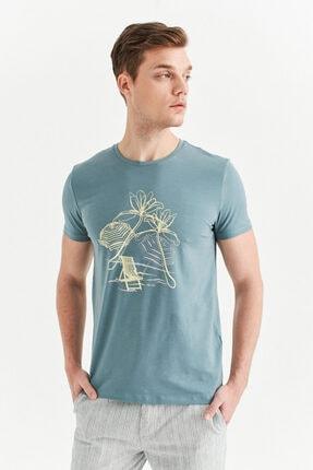 Avva Erkek Nil Yeşili Bisiklet Yaka Baskılı T-shirt A01y1084 2