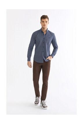 Avva Erkek Lacivert Baskılı Düğmeli Yaka Slim Fit Gömlek A92y2196 3