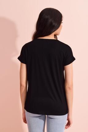 Tena Moda Kadın Siyah V Yaka Geniş Salaş Tişört 4