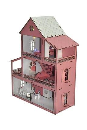 PARSTEK Pembe Barbie Ev Eşyalı 3 Kat Led Işık Ve Bebekli Demonte Full 1