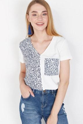 Lafaba Kadın Beyaz Cepli Baskılı Bluz 1